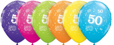 50th Assorted Colour Balloons 6 Pack
